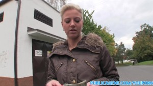 PublicAgent Tongue pierced blonde fucks in public