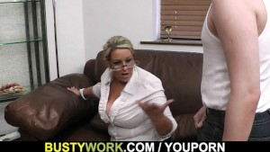 Plump women at work spreads legs for big dick