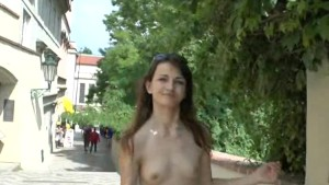 Adela shows her slim body on public streets