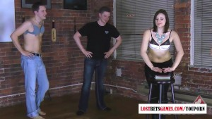 7 people compete in a game of strip cards