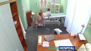 FakeHospital Patient gives his hot brunette nurse a cream pie