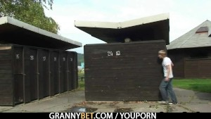 Granny is banged in the public area