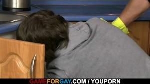 Cute plumber sucks and rides gay cock