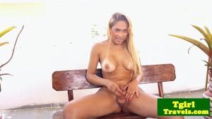 Busty latin tgirl Stephany Castro outdoor wank