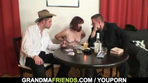 Poker leads to 3some with oldie in stockings