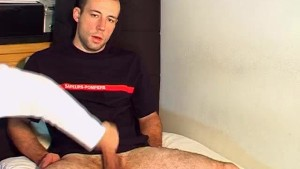 Cock massage to a real straight guy with big cock ! (Seb)