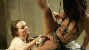 Sex slave sucks her Masters cock while Mistress fucks her tight pussy