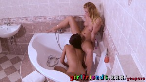 Girlfriends Hot besties shave each other and fuck in bathroom