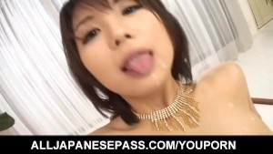 Azumi Harusaki gets cum in mouth while is fucked in hairy slit