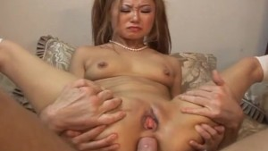Asian slut getting ass stuffed with a thick dick