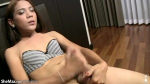 Doll with big balls gives blowjob while stroking her cock