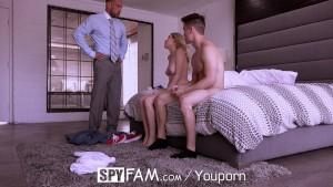 SpyFam Boyfriend watches Aubrey Sinclair fuck her step father