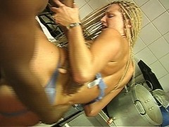 Cook gets his cream filling all over her face