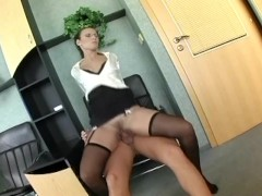 Nerdy secretary in lingerie fucking at the office