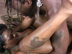 Big tit'd, jiggly ass'd, ebony babe lathers up and fucks