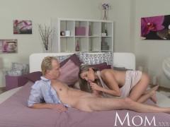 MOM Blonde milf enjoys a slow blowjob before full on sex