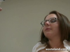 Stripped college slut gets teased by Mistress and her naked male slave