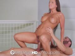FantasyHD - Big tit Brunette Abigail Mac gets fucked in the office